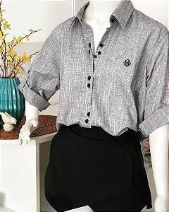 Camisa vest legging manga 3/4 azul acinzentado