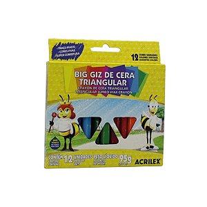 Giz De Cera Acrilex Big Giz Triangular 12 Cores