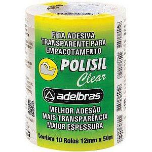 Fita adesiva Polisil 12mmx50m.Transparente Adelbras Pacote