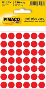 Etiqueta redonda Tp-12 Vermelha Redonda 12mm - Pimaco Bic