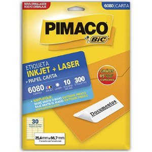 Etiqueta Carta 6080 10 Folhas 25,4 X 66,7 Mm C/ 300 Etiquetas - Pimaco Bic