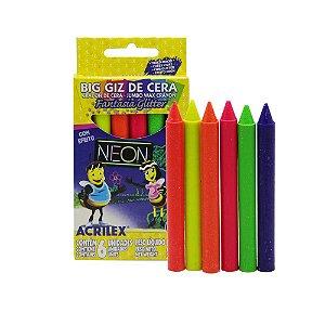 Giz De Cera Acrilex Neon Glitter - 6 Cores