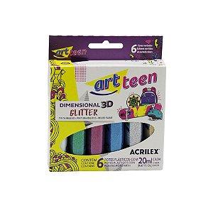 Tinta Relevo Dimensional 3D Glitter Acrilex - 6 Cores 20ml