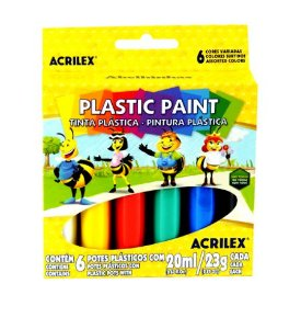 Tinta Plástica Acrilex - 6 Cores - 20ml