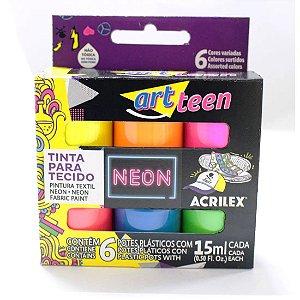 Tinta P/ tecido Artteen Neon C/ 6 cores sortidas Acrilex
