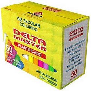 Giz escolar Plastificado Delta Colorido - 50 Uni