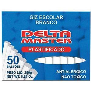 Giz Escolar Plastificado Delta Branco - 50 Uni