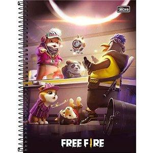Caderno Espiral Capa Dura Universitário Free Fire Mascotes 10 Matéria 160 Folhas Tilibra