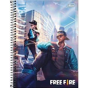 Caderno Espiral Capa Dura Universitário Free Fire Angelical 10 Matéria 160 Folhas Tilibra