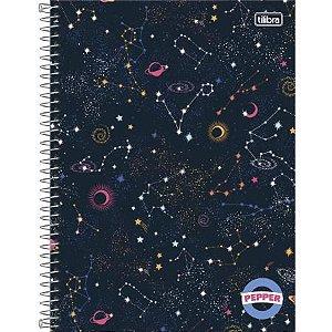 Caderno Espiral Capa Dura Universitário Pepper Feminina Estrela e Lua 10 Matérias 160flhs Tilibra