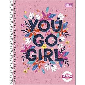 Caderno Espiral Capa Dura Universitário Pepper Feminina You Go Girl 10 Matérias 160flhs Tilibra