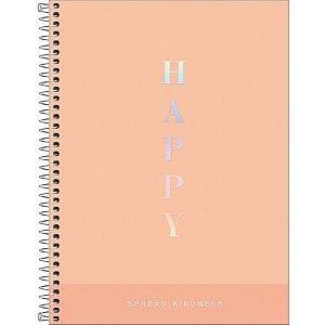 Caderno Capa Dura Universitario Happy Salmão 1 materia 80 folhas Tilibra