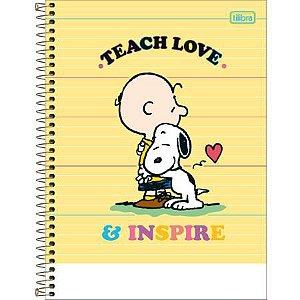 Caderno Espiral Capa Dura Universitário 10 Matérias Snoopy Amarelo 160 Folhas
