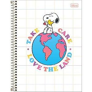 Caderno Espiral Capa Dura Universitário 10 Matérias Snoopy Branco 160 Folhas