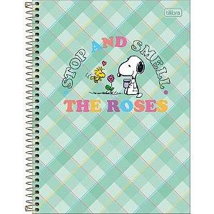 Caderno Espiral Capa Dura Universitário 10 Matérias Snoopy Verde 160 Folhas