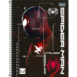 Caderno Espiral Capa Dura Universitario Spider-Man Capa Preta e Prata  1 materia 80 Folhas Tilibra