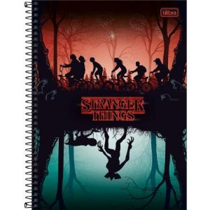 Caderno Espiral Capa Dura Universitário 1 Matéria Stranger Things Mundo Invertido 80 Folhas