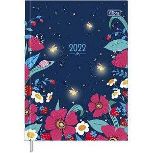 Agenda Costurada Diária Charme 2022 176 fls Tilibra Azul Floral