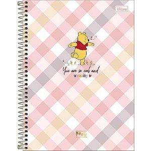 Caderno Espiral Capa Dura Universitário 1 Matéria Pooh Capa Xadrez 80 Folhas