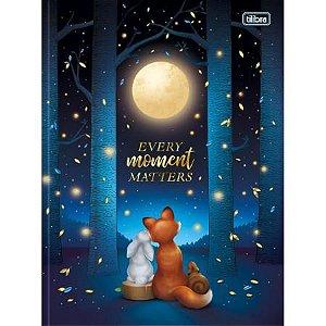 Caderno Brochura Capa Dura Universitário Loveland Azul e Lua 80 Folhas