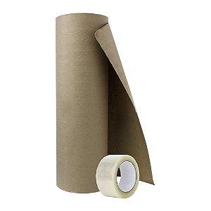 Bobina Papel Pardo Kraft 60cm 150m + Fita Adesiva Transparente 45mmx100m  5 Uni