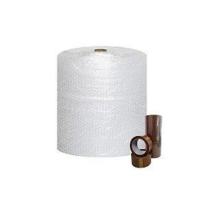 Plástico Bolha - Bobina 40 Cm X 100 M + Fita Adesiva Marrom 48mmx100m  5 Unidades