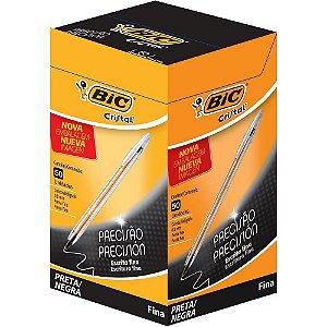 Caneta Esferográfica Bic  0.8mm Cristal Fina Preta Caixa C/ 50 unidades