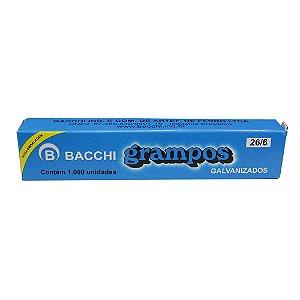 Grampo 26/6 Galvanizado 1000 Grampos Bacchi Pacote com 10