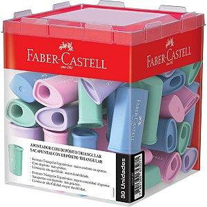 Apontador com deposito Triangular 4cores Pastel Faber-Castell Caixa C/ 30 Un