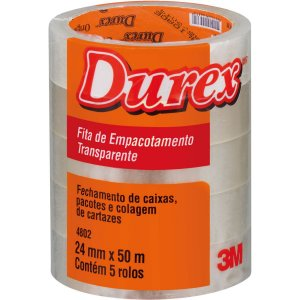 Fita adesiva Durex 4802 Transparente 24mmx50m. 3m Pacote C/ 5 Unidades