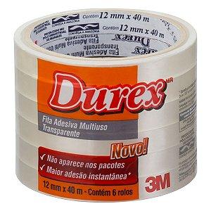 Fita adesiva Durex Transparente 12mmx40m. 3m Pacote C/6