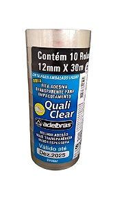 Fita adesiva Quali Clear 12mmx30m Transparente Adelbras Pacote C/ 10 Unidades