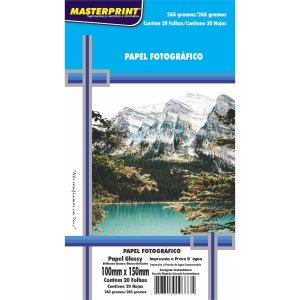 Papel fotográfico inkjet 10x15cm Glossy 265g Masterprint Pacote C/ 20 Folhas