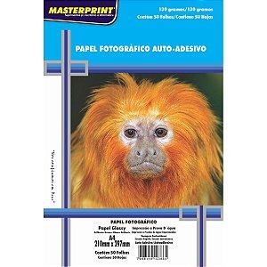Papel fotográfico inkjet A4 Glossy Adesivo 130g Masterprint - Pacote C/ 50 Folhas