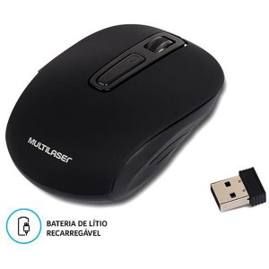 Mouse Otico Sem Fio 1600dpi 2.4ghz Preto Recarreg. Multilaser MO277