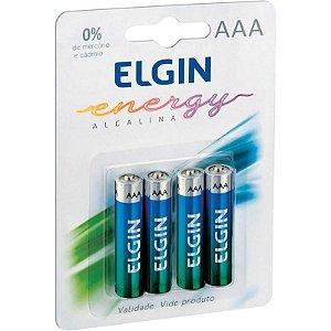 Pilha alcalina Palito AAA Elgin - 4 Pilhas no blister