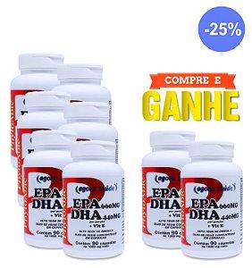 Ômega 3 1000mg (EPA 660mg DHA 440mg com Vitamina E) - 90 cápsulas - Combo: Compre 6 Frascos e Leve + 2 Frascos (Presente)