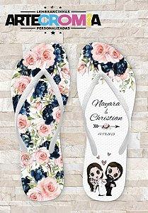 Chinelo Personalizado para Casamento Flores e Noivinhos - MDL0109