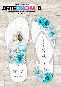 Chinelo Personalizado para Casamento Flores Tiffany Noiva & Madrinhas - MDL118