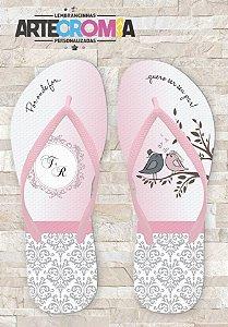 Chinelo Personalizado para Casamento Passarinhos - MDL 143
