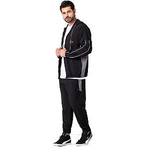 Conjunto Masculino Jaqueta e Calça Elastic Preto ZERO AÇUCAR
