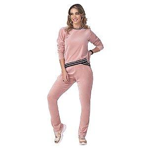 Conjunto Feminino Blusão e Calça Plush Rosa ZERO AÇUCAR
