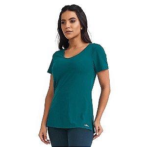 Blusa Feminina T-Shirt Slit Básica Verde CAJUBRASIL