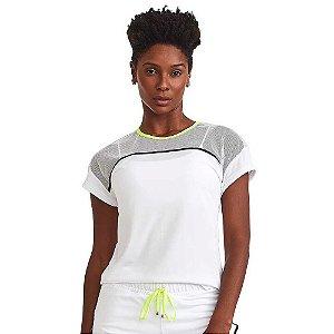 Blusa Feminina T-shirt Neon Branca CAJUBRASIL