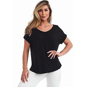 Blusa Feminina T-shirt Básica Action Preta CAJUBRASIL
