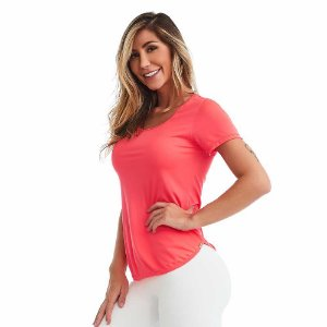 Blusa Feminina T-Shirt Lite Básica Pink Neon CAJUBRASIL