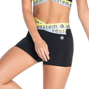 Shorts Feminino Italia Preto Com Amarelo Neon VESTEM