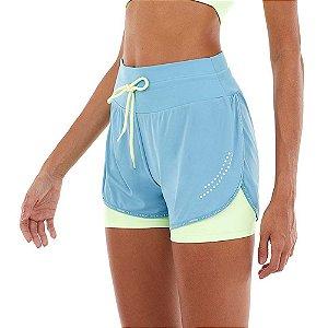 Shorts Feminino Sobreposto Skin Fit Blackout Azul ALTO GIRO
