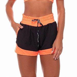 Shorts Feminino Bicolor Preto com Laranja Neon VESTEM