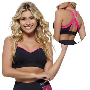 Top Fitness Hit Preto e Pink Oxyfit